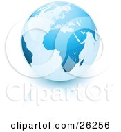 Clipart Illustration Of Planet Earth With Blue Continents Over A Reflective White Surface by beboy