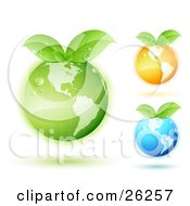 Green Orange And Blue Earths With Green Leaves Sprouting From The Tops And Matching Colored Shadows On A White Background