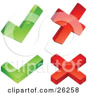 Clipart Illustration Of Two Green Check Marks And Two Red X Marks On A White Background by beboy
