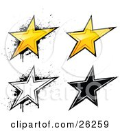 Collection Of Yellow White And Black Grunge Styled Stars On A White Background