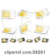 Clipart Illustration Of A Collection Of Gold White And Black Sim Cards On A White Background