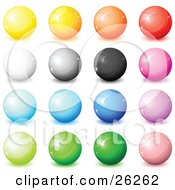 Clipart Illustration Of A Collection Of Yellow Orange Red White Gray Black Pink Blue Purple And Green Shiny Orbs Web Buttons Or Marbles On A White Background