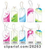 Clipart Illustration Of A Collection Of Heart Leaf Water Star And Wave Retail Labels Showing The Fronts And Backs With Barcodes On A White Background