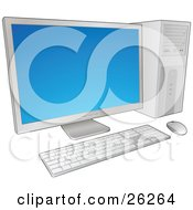 Clipart Illustration Of A Desktop Computer With A Blue Flat Screen Monitor by beboy
