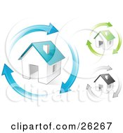 Clipart Illustration Of Blue Green And Gray Homes With Matching Colored Arrows Circling Around Them Symbolizing Remodeling Real Estate Or Eco Friendly Housing
