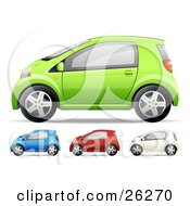 Green Blue Red And White Compact Cars On A White Background