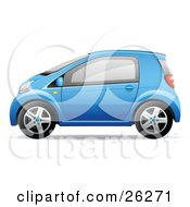 Clipart Illustration Of A Cute Little Blue Compact Car Resembling A Yaris In Profile by beboy