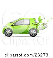 Cute Green Compact Car Resembling A Yaris With A Leafy Vine And Plug Emerging From The Gas Tank