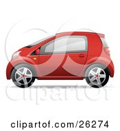 Clipart Illustration Of A Cute Little Red Compact Car Resembling A Yaris In Profile by beboy