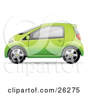 Clipart Illustration Of A Cute Little Green Compact Car Resembling A Yaris In Profile by beboy