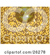 Sparkling Yellow Disco Ball Suspended Over A Yellow And Brown Mosaic Background At A Party by elaineitalia
