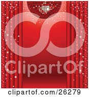 Clipart Illustration Of A Sparkling Red Disco Ball Suspended Over A Red Stage With Red Curtains And Star Confetti by elaineitalia