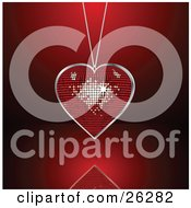 Clipart Illustration Of A Sparkling Disco Heart Necklace Suspended Over A Red Reflective Surface by elaineitalia