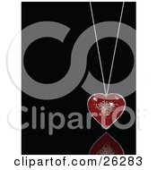 Clipart Illustration Of A Sparkling Red Disco Heart Suspended On A Necklace Over A Black Reflective Surface