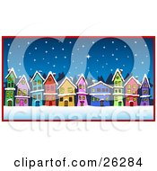 Clipart Illustration Of Row Of Colorful Green Pink Blue Orange Yellow Red And Purple Houses On A Street Under A Snowy Winter Night