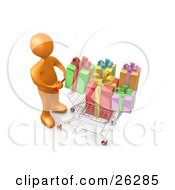 Clipart Illustration Of An Orange Person Pushing A Shopping Cart Packed Full Of Colorful Christmas Presents In A Store