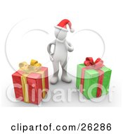 Clipart Illustration Of A White Person Wearing A Santa Hat And Rubbing Their Chin Trying To Guess What Their Christmas Gifts Are