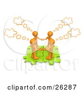 Four Orange People Holding Hands And Standing On Connected Green Puzzle Pieces With Thought Clouds Above Them
