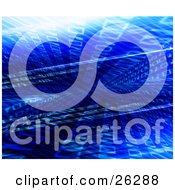 Clipart Illustration Of Binary Code Flowing In Different Directions In Blue Cyber Space