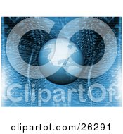 Clipart Illustration Of Planet Earth Hovering Over A Blue Binary Code Background