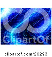 Clipart Illustration Of A Wavy Blue Background Of Binary Code Of Zeros And Ones