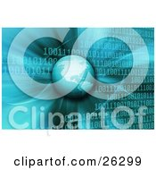 Clipart Illustration Of Planet Earth Hovering Over A Blue Binary Code Background Of Rows Of Zeros And Ones