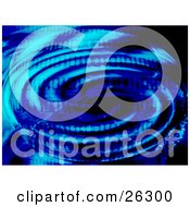 Clipart Illustration Of Blue Binary Code Over A Ripple Of Water With Dark Shadows