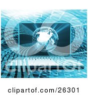 Clipart Illustration Of A Laptop Computer With Waves Of Binary Rushing Out Of A Wire Frame Globe On The Screen On A Blue Binary Coding Background