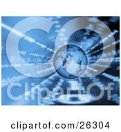 Clipart Illustration Of A Blue Planet Earth Hovering Over A Spinning Background Of Binary Coding