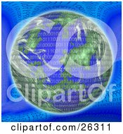 Clipart Illustration Of Binary Code Of Zeros And Ones Over Planet Earth On A Blue Background by KJ Pargeter