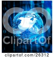 Clipart Illustration Of A Silver Wire Frame Planet Earth Over A Background Of Vertical Binary Code Of Zeros And Ones With Blue And Black Colors by KJ Pargeter