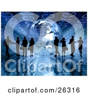 Clipart Illustration Of Silhouetted Businesspeople Talking To Others Or On Cell Phones Near A Silver Wire Frame Globe On A Blue Binary Background