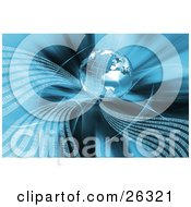 Clipart Illustration Of White Waves Of Binary Code Flowing From A Silver Wire Frame Planet Earth Over A Background