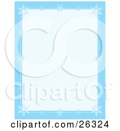Clipart Illustration Of A Blue Stationery Border With White Snowflakes And Dots Of Snow Along The Edges With A Pale Blue Center