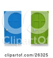 Two Closed Doors One Blue One Green Symbolizing Choices And Opportunities