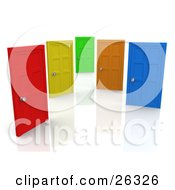 Red Yellow Green Orange And Blue Closed Doors Symbolizing Choices And Opportunities