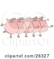 Clipart Illustration Of Five Fat Pink Pigs Kicking Their Legs Up While Dancing In A Chorus Line