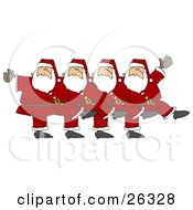 Five Santas In Uniform Kicking Their Legs Up While Dancing In A Chorus Line