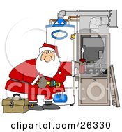 Clipart Illustration Of Santa Bending Over And Repairing Wires In An Hvac System For Christmas