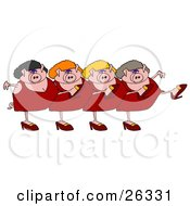 Clipart Illustration Of Four Pink Lady Pigs In Dresses Heels And Wigs Kicking Their Legs Up While Dancing In A Chorus Line