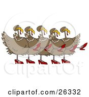 Clipart Illustration Of Five Brown Turkey Birds In High Heels Kicking Their Legs Up While Dancing In A Chorus Line