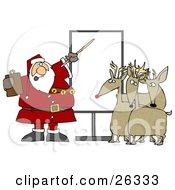 Clipart Illustration Of Santa In Uniform Pointing To A Blank Board And Discussing Christmas Flight Rules And Plans With Reindeer