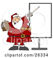 Santa In Uniform Holding A Clipboard And Using A Pointer Stick While Discussing Christmas Rules On A Board