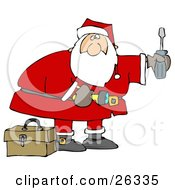 Santa Standing By A Toolbox Carrying A Flashlight And A Screwdriver Looking To Do Home Repairs As A Christmas Gift