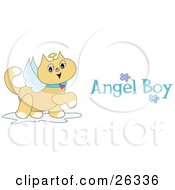 Clipart Illustration Of A Winged Angel Cat With A Halo Prancing Around With Angel Boy Text by bpearth