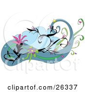 Clipart Illustration Of A Design Element With Pink And Purple Flowers And Stars With Vines And Blue Clouds