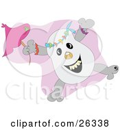 Clipart Illustration Of A Happy Skull Jumping With A Pink Umbrella
