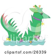 Clipart Illustration Of A Green Dragon Wearing A Collar Swimming In The Sea With Yellow Pink And Purple Fish by bpearth
