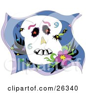 Clipart Illustration Of Spiders Crawling All Over A Skull Resting By A Flower