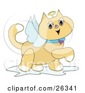 Clipart Illustration Of A Winged Angel Cat With A Golden Halo And Heart Collar Prancing By